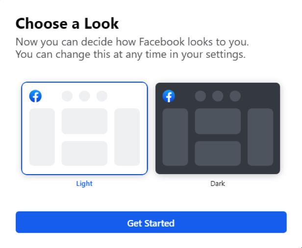 facebook dark mode preview